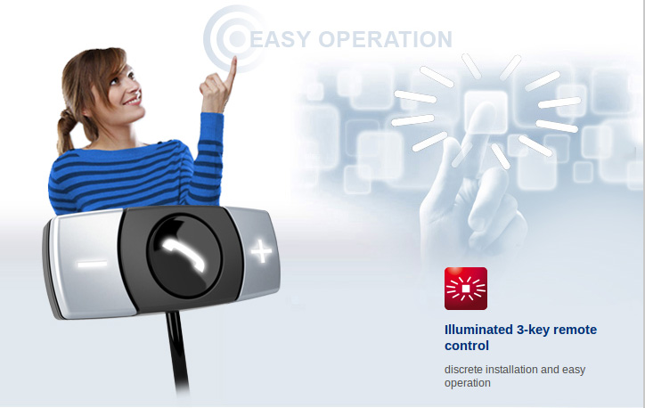 Bluetooth hands-free device with 3-key remote control and battery charge function for your mobile telephone
