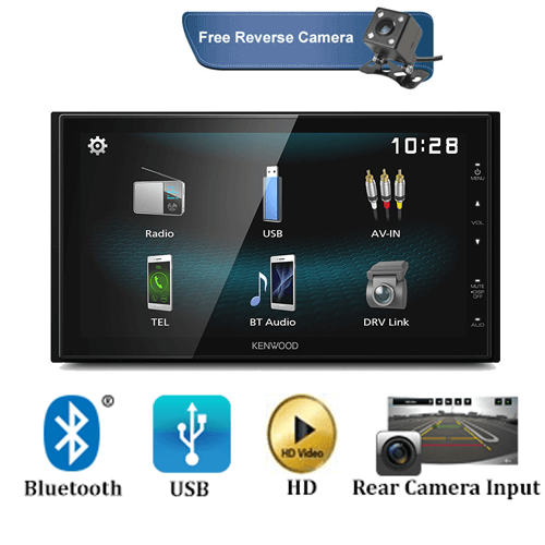 "Kenwood DMX1025BT Hi-Res 6.8"" Double DIN Media Receiver with Bluetooth/USB/DVD Playback"