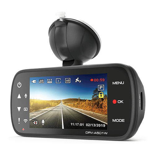 """Front & Rear Camera Package 2 Channel Front and Rear Dashboard Camera 3"""" Screen 1440P Recording, Wi-Fi, GPS & Quick Release Mount"""