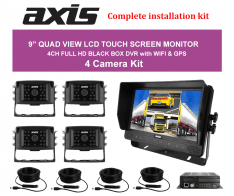 """9"""" QUAD VIEW LCD TOUCH SCREEN MONITOR DVR with WI-FI-GPS 4 Camera Kit"""