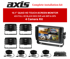 Axis 10.1inches QUAD HD TOUCH-SCREEN MONITOR DVR with WI-FI-GPS 4 Camera Kit